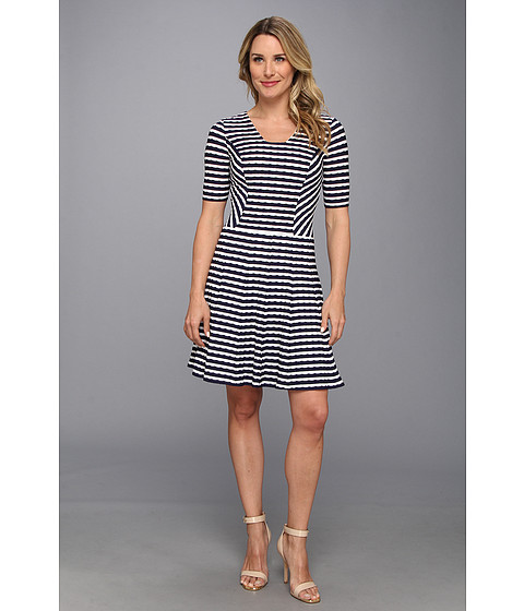 Anne Klein - Wave Stripe Knit Fit Flare Dress (New Marine/Camellia) Women's Dress