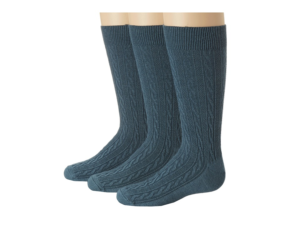 Goodhew - San Fran Cable 3-Pack (Teal) Women's Crew Cut Socks Shoes