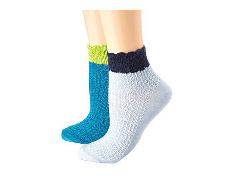 Goodhew - Crochet 2-Pack (Turquoise/Chambray) Women's Crew Cut Socks Shoes