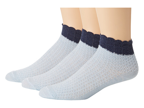 Goodhew - Crochet 3-Pack (Chambray 2) Women's Crew Cut Socks Shoes
