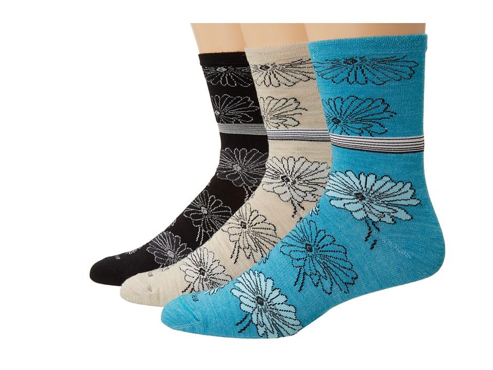 Goodhew - Posey Pop 3-Pack (Black/Barley/Turquosie) Women's Crew Cut Socks Shoes