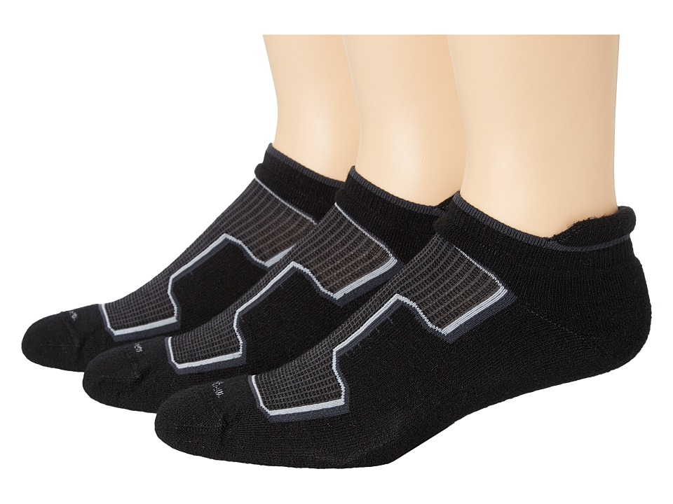 Goodhew - Taos Micro 3-Pack (Black) Men's Crew Cut Socks Shoes