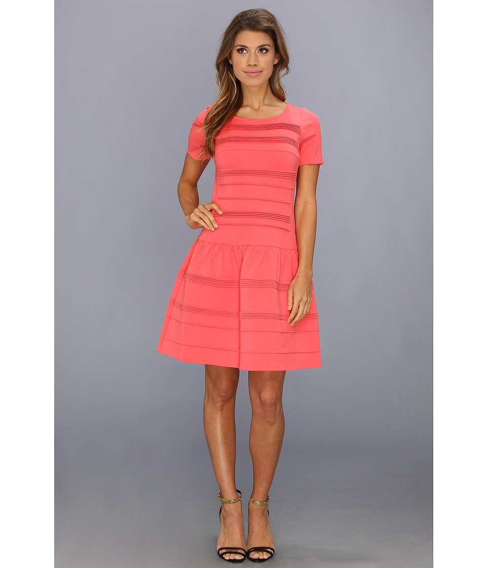 Eliza J - Cap Sleeve Drop Waist Dress With Stitching (Coral) Women's Dress