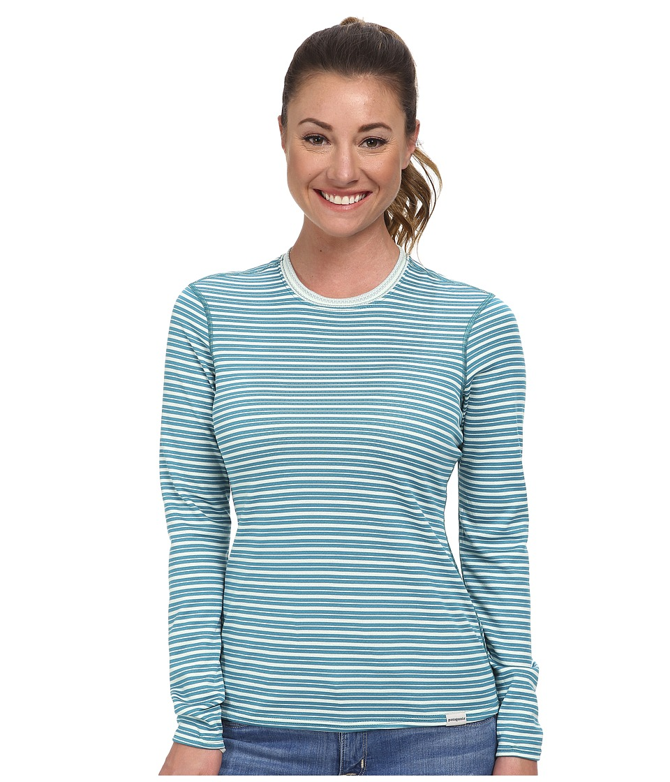 Patagonia - Capilene(r) 3 Midweight Crew (Hardy Stripe/Arctic Mint/Tobago Blue) Women's Long Sleeve Pullover