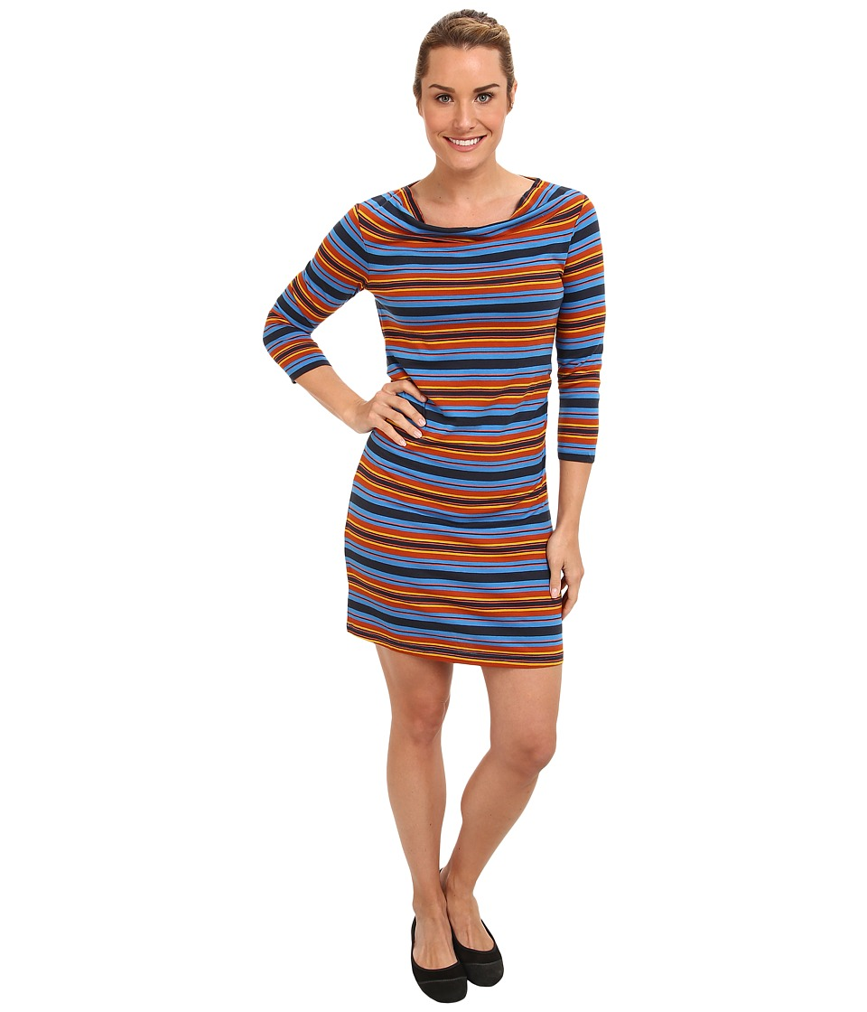 Patagonia - Kamala Cowl Neck Dress (Hatty Stripe/Andes Blue) Women's Dress