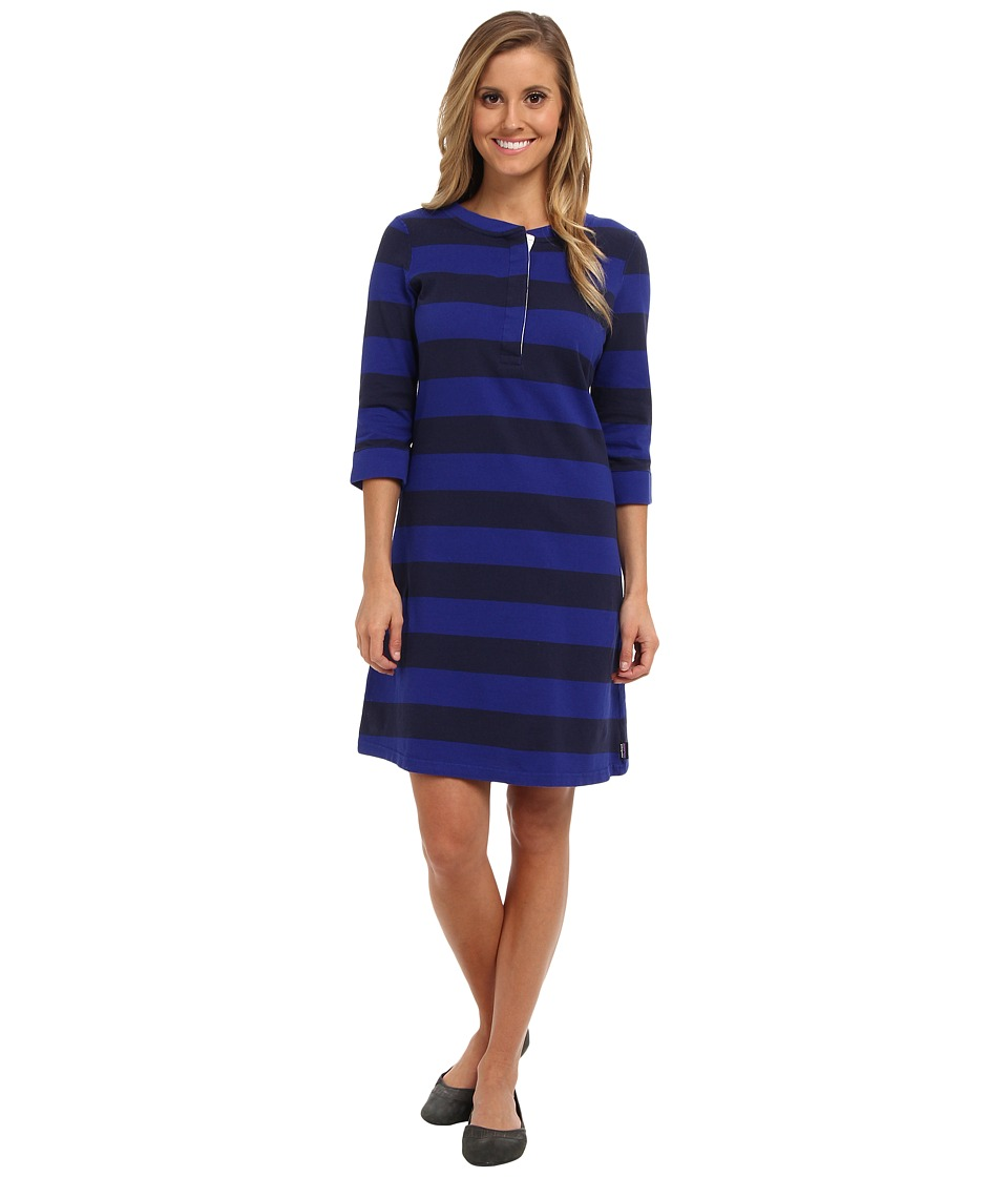 Patagonia - 3/4 Sleeve Sender Stripe Dress (Henley Stripe/Cobalt Blue) Women's Dress