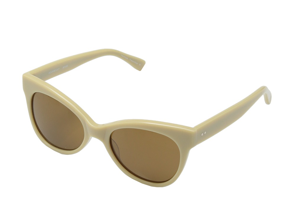 KAMALIKULTURE by Norma Kamali - Square Cat Eye Sunglasses (Beige/Brown) Plastic Frame Fashion Sunglasses