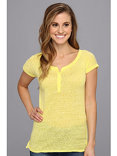 SALE! $14.99 - Save $13 on UNIONBAY Stormy Jersey Caryn Solid Henley Cap Sleeve (Bitter Lemon) Apparel - 46.46% OFF $28.00
