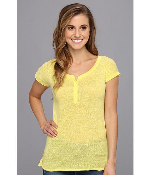 UNIONBAY - Stormy Jersey Caryn Solid Henley Cap Sleeve (Bitter Lemon) Women's T Shirt