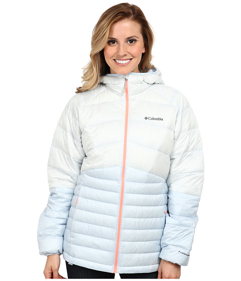 Columbia - Diamond 890 TurboDown Hooded Down Jacket (Ice Grey/Mirage/Coral) Women
