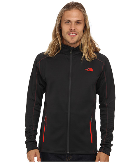 The North Face - Stokes Full Zip (Asphalt Grey/Asphalt Grey/Asphalt Grey/Fiery Red/Asphalt Grey) Men