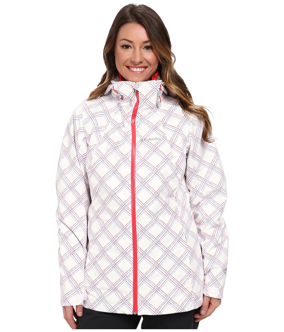 Columbia - Whirlibird Interchange Jacket (White Stitched Grid Print/Red Hibiscus) Women's Coat