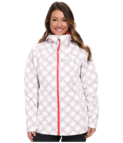 Columbia - Whirlibird Interchange Jacket (White Stitched Grid Print/Red Hibiscus) Women