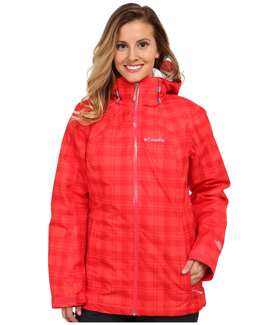Columbia - Whirlibird Interchange Jacket (Red Hibiscus Plaid Print/White) Women's Coat