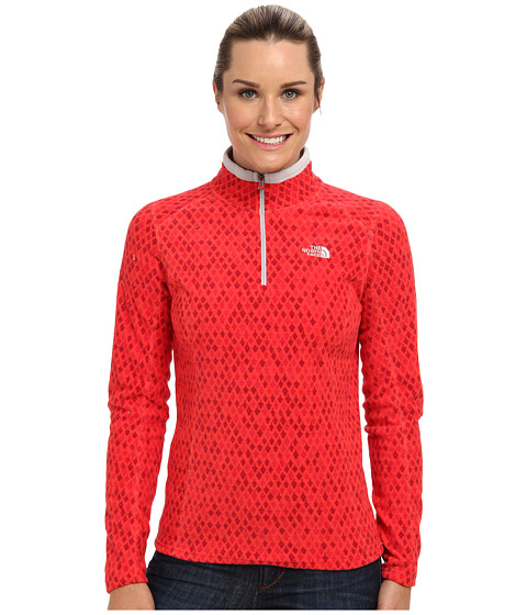 The North Face - Printed TKA Glacier 1/4 Zip (Rambutan Pink Moroccan Print) Women