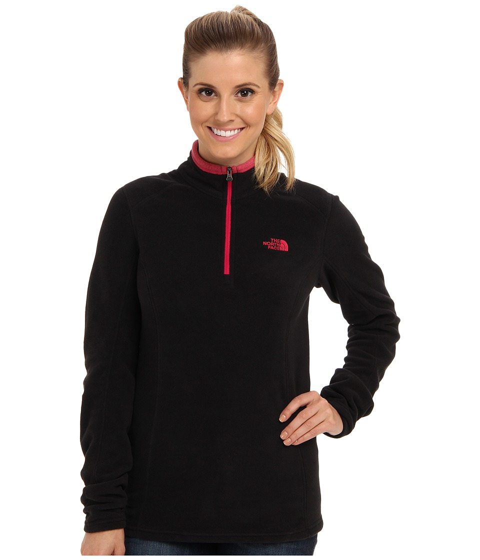 The North Face - Glacier 1/4 Zip (TNF Black/Cerise Pink Heather) Women's Sweatshirt