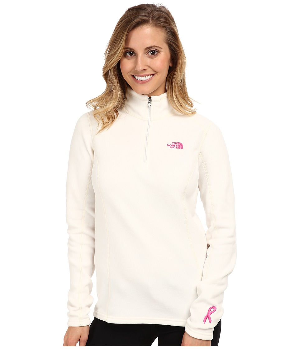 The North Face - Pink Ribbon Glacier 1/4 Zip (Gardenia White) Women's Sweatshirt