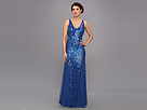 Adrianna Papell Bead Gown With Side Sheer Insets