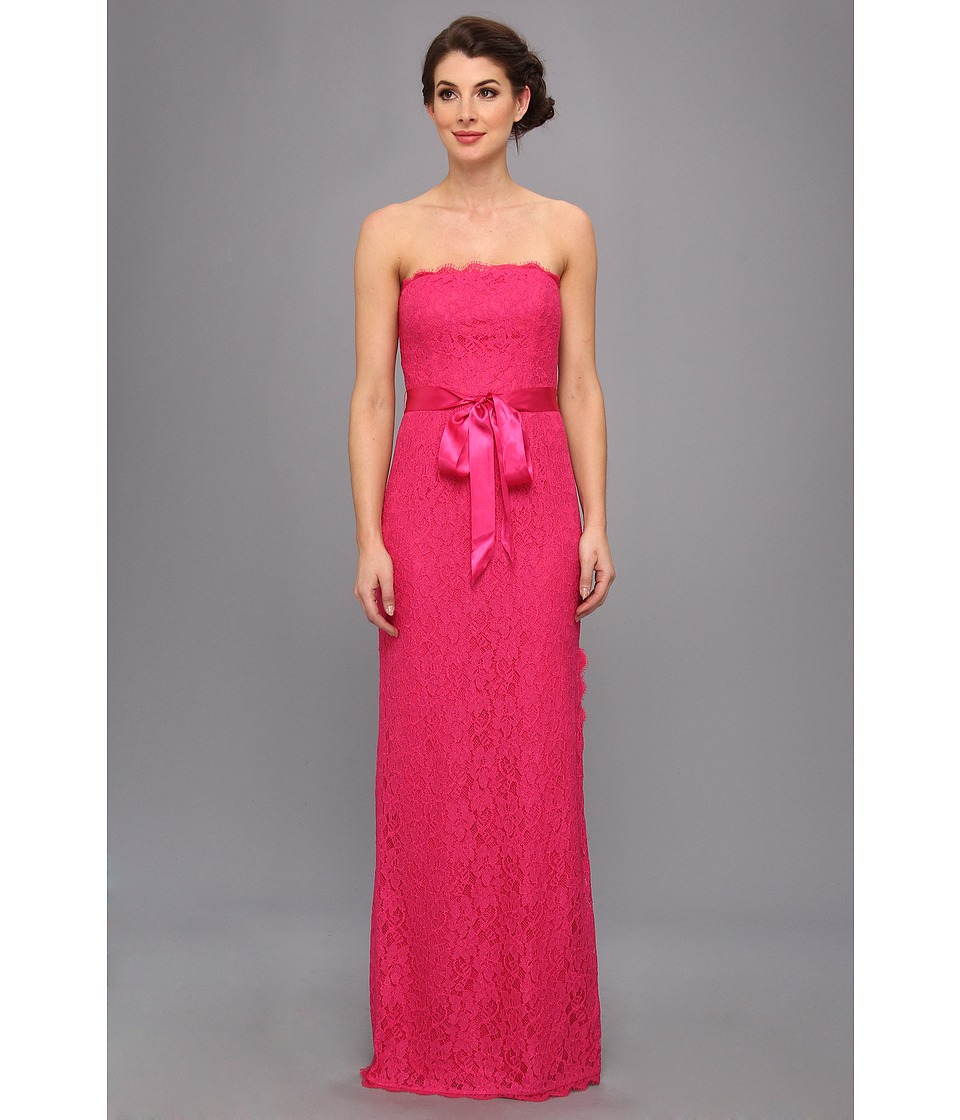 Adrianna Papell Strapless Lace Gown Womens Dress (Pink)