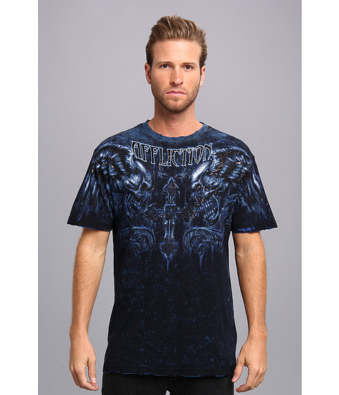 Affliction - Fragmented Reversible S/S Crew Neck Tee (Black/Cobalt Lava Tint) Men