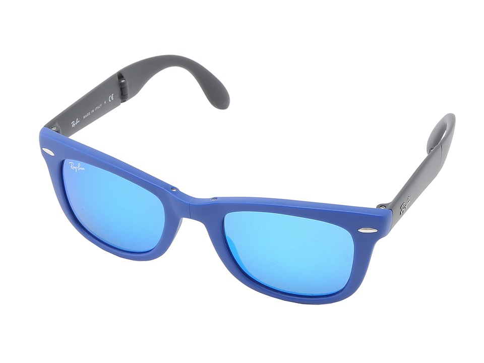 Ray-Ban - RB4105 Wayfarer Folding 50mm (Blue Green Mirror) Plastic Frame Fashion Sunglasses