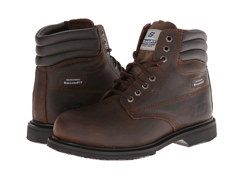 SKECHERS Work - On Site - Roarke (Dark Brown) Men's Lace-up Boots