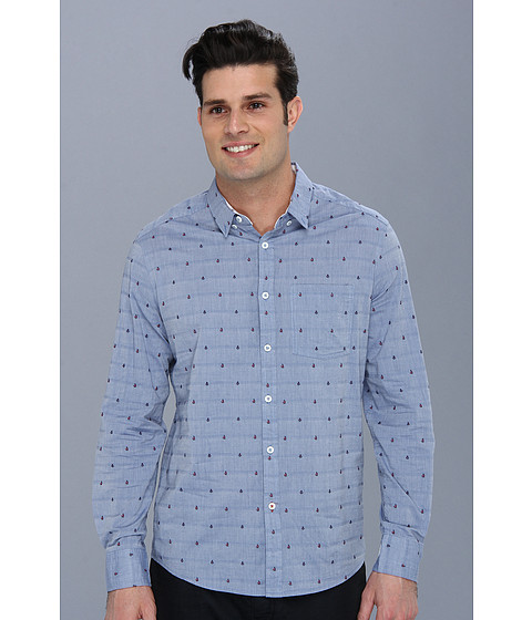 7 Diamonds - The Way L/S Shirt (Blue) Men's Long Sleeve Button Up