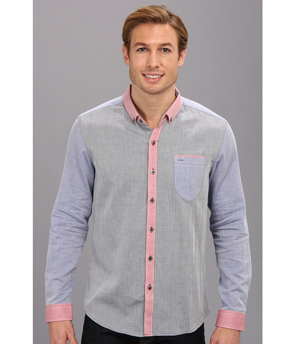 7 Diamonds - Cotton Alley L/S Shirt (Navy) Men's Long Sleeve Button Up