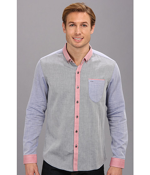 7 Diamonds - Cotton Alley L/S Shirt (Navy) Men's Long Sleeve Button Up