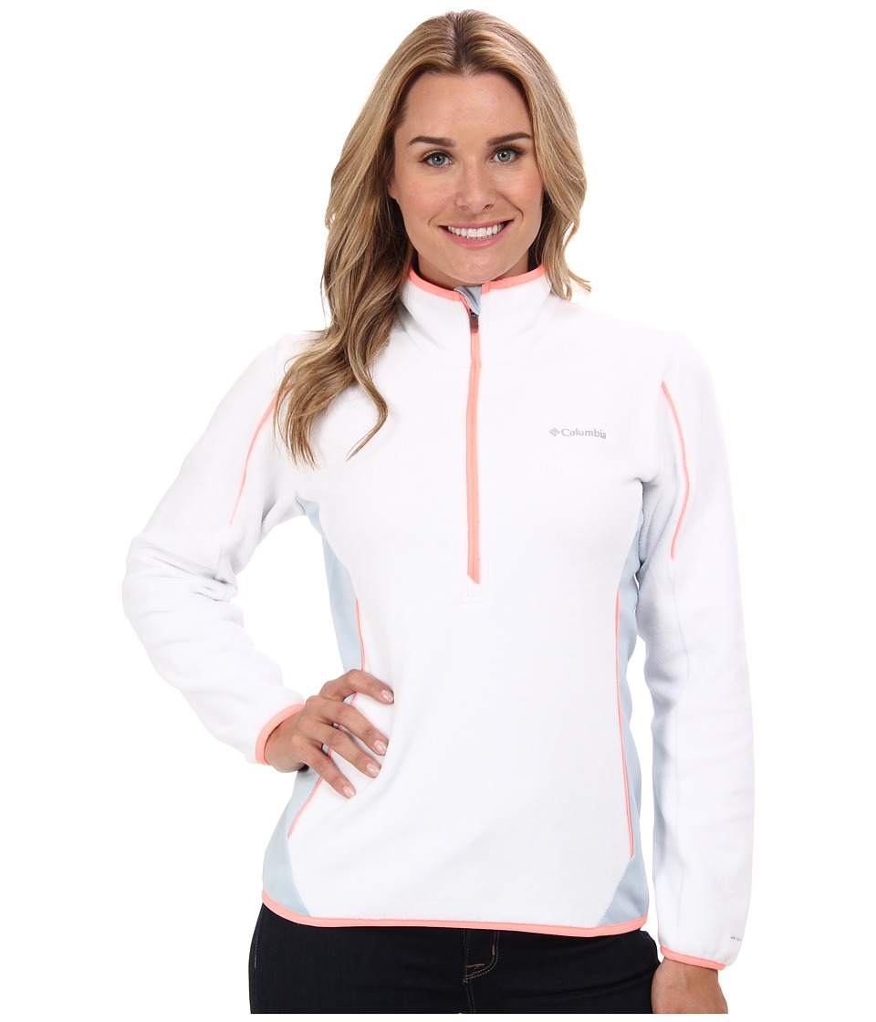 Columbia - Crosslight II Half-Zip Fleece (White/Mirage/Coral Glow) Women's Long Sleeve Pullover