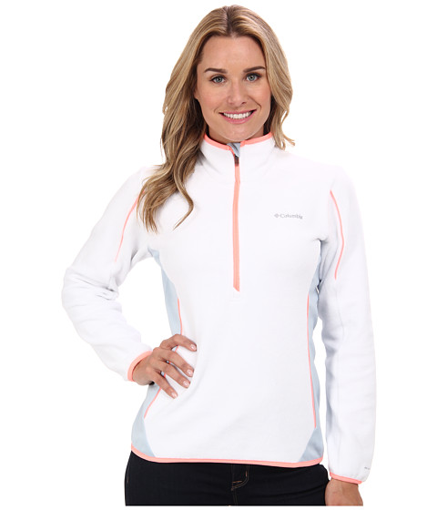 Columbia - Crosslight II Half-Zip Fleece (White/Mirage/Coral Glow) Women's Long Sleeve Pullover