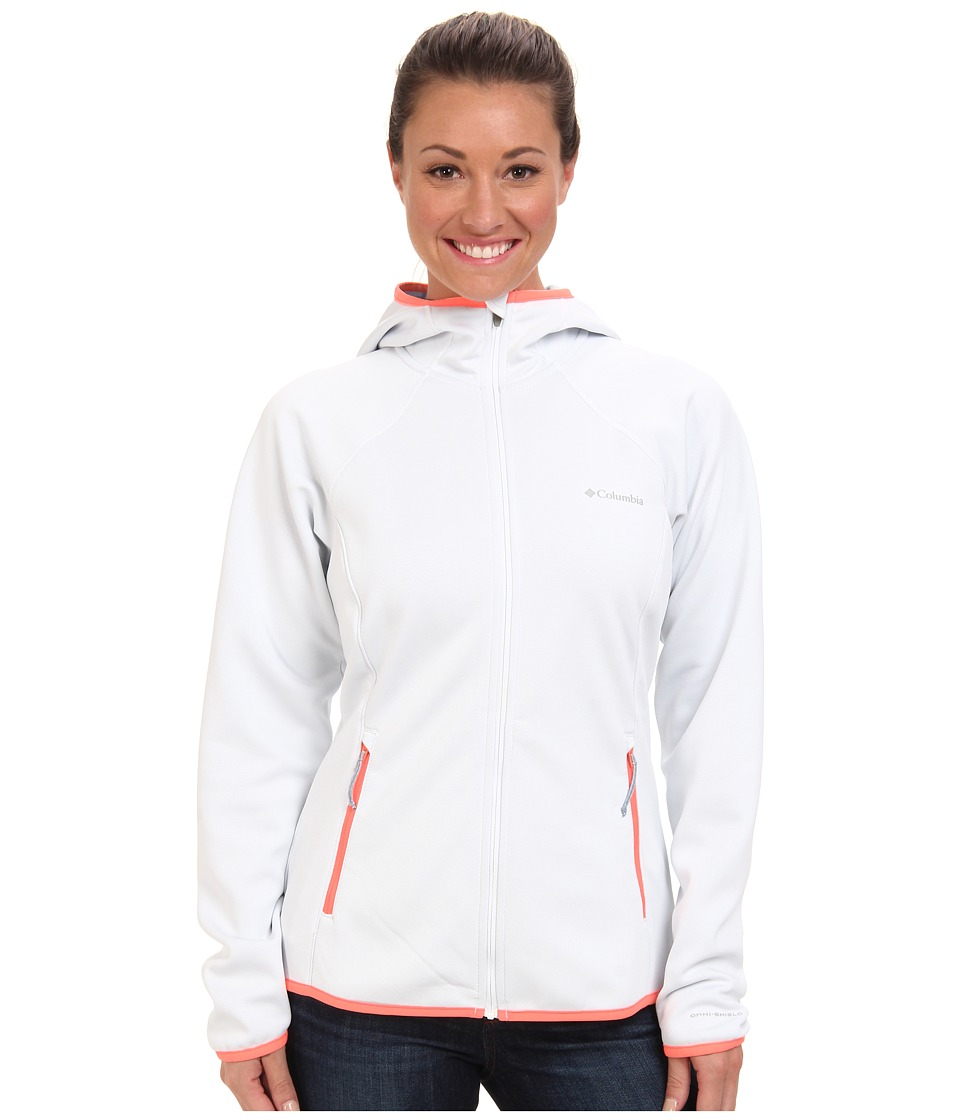 Columbia - Helter Shelter Hooded Fleece Jacket (White/Coral Glow) Women's Fleece