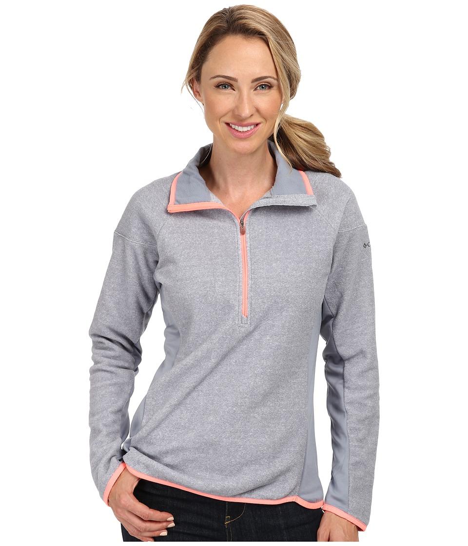 Columbia - Ombre Springs Fleece Half Zip (White/Tradewinds Grey/Coral Glow) Women's Long Sleeve Pullover