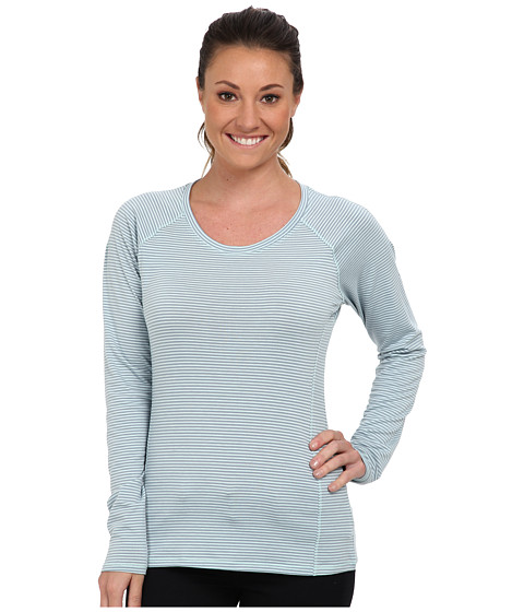 Columbia - Layer First Stripe Long Sleeve Top (Icy Morn/Tradewinds Grey Mini Stripe) Women