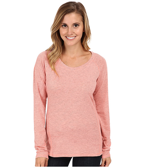 Columbia - Layer First Stripe Long Sleeve Top (Coral Glow/Heathered Mini Stripe) Women's Long Sleeve Pullover