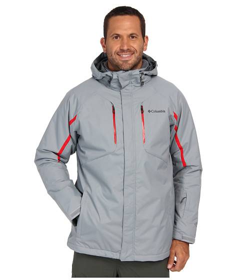 Columbia - Cubist IV Jacket - Extended (Tradewinds Grey/Bright Red) Men's Coat