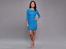 Adrianna Papell L/S Lace Dress (Cerulean)