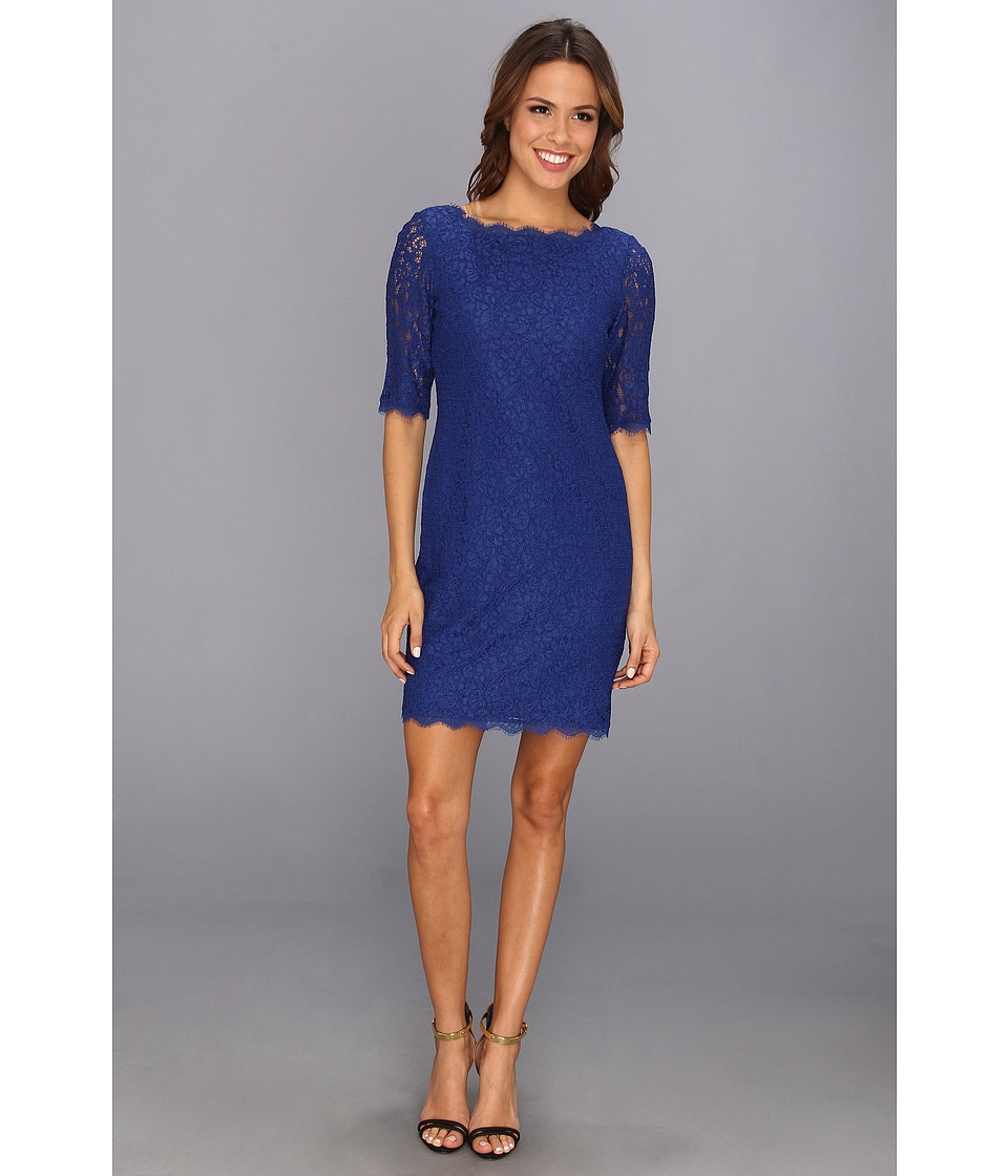 Adrianna Papell Lace Sheath with Elbow Sleeve Dress Womens Dress (Blue)