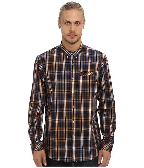 7 Diamonds - Feel The Moment L/S Shirt (Brown) Men's Long Sleeve Button Up