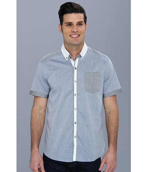 7 Diamonds - Abandoned Closet S/S Shirt (Blue) Men's Short Sleeve Button Up
