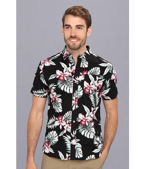 7 Diamonds - Pure Shores S/S Shirt (Black) Men's Short Sleeve Button Up