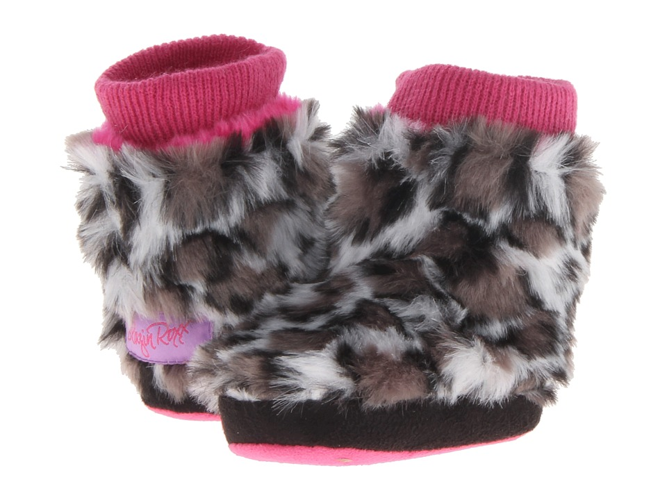 M&F Western - Furry Boot Slippers (Infant/Toddler) (Grey Leopard) Women