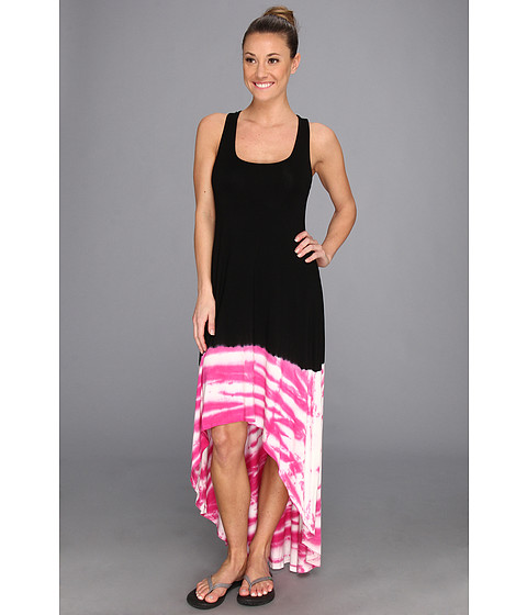 Pink Lotus - Brushed Back Maxi (Black/Fuchsia) Women's Dress