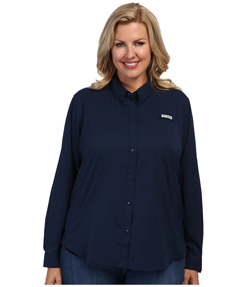 Columbia - Plus Size Tamiami II L/S Shirt (Colleigiate Navy) Women's Long Sleeve Button Up