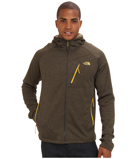 The North Face - Canyonlands Hoodie Full Zip (Black Ink Green Heather) Men