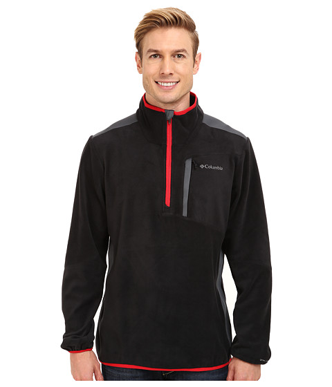 Columbia - Crosslight II Half-Zip Fleece (Black/Graphite Panels/Bright Red) Men