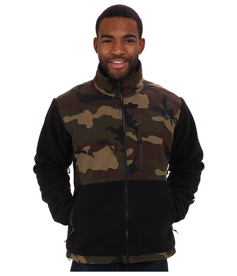 The North Face - Denali Jacket (Recycled TNF Black/Scallion Green Camo Print) Men's Coat