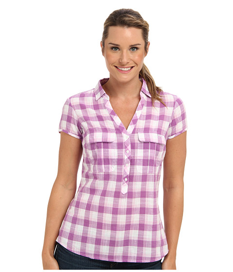 Columbia - Coral Springs Woven S/S Shirt (Blossom Pink/Shadow Check) Women's Short Sleeve Pullover