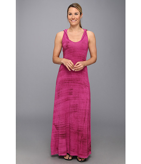 Pink Lotus - Tied Hooded Racer Back Maxi (Plumeria) Women's Dress