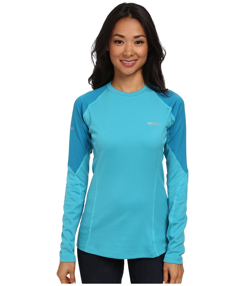Marmot - ThermalClime Pro L/S Crew (Sea Breeze/Aqua Blue) Women's T Shirt